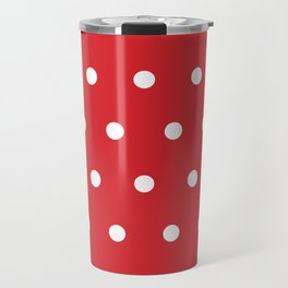 Small White Dots on Red Travel Mug