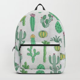 Cactus Pattern White Backpack