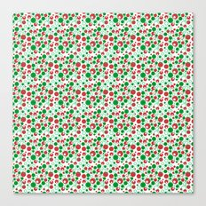 Circle Pattern Holiday Red Green and White Canvas Print