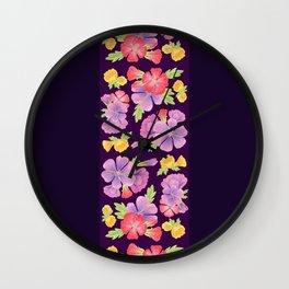 Floral Pattern On Purple Wall Clock
