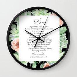Love 1 corinthians 13 bible verse Wall Clock