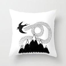 Mountain Swallow Throw Pillow