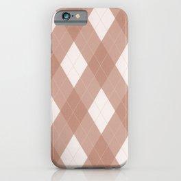 Sherwin Williams Cavern Clay SW7701 Argyle Plaid, Diamond Pattern iPhone Case