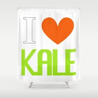 vegetarian Shower Curtains featuring I Love Kale - Vegan & Vegetarian - Kale Love by Be Kindly