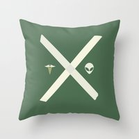 mulder Throw Pillows featuring Mulder and Scully (green) by avoid peril