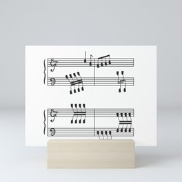 Rowing & Music 3 - Rowing with notes on the Music sheets Mini Art Print