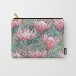 Pink Painted King Proteas on grey Carry-All Pouch
