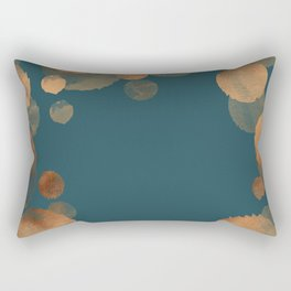 Metal Copper Dots on Emerald Rectangular Pillow