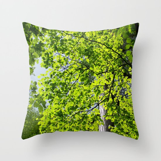Spring Green Throw Pillow by Marina Scheinost Society6