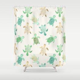 Gilded Jade & Mint Turtles Shower Curtain