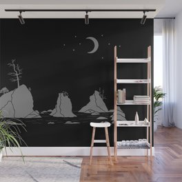 Moon Over Three Graces Grey on Black Wall Mural