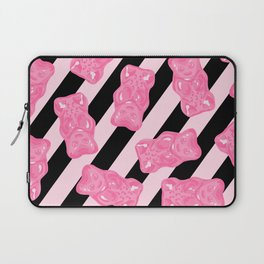 Jelly Beans & Gummy Bears Pattern - Pink and Black Laptop Sleeve