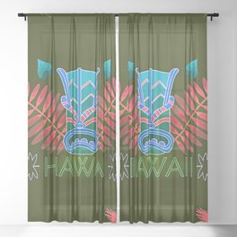 Tropical Totem And Leaves Landscape Sheer Curtain
