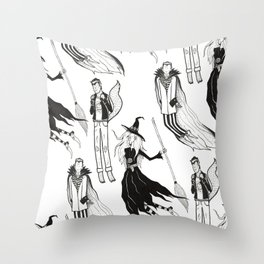 Happy Monsters (in white) Throw Pillow
