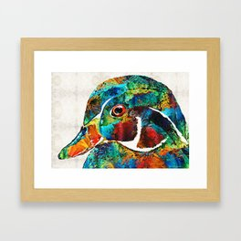 Colorful Wood Duck Art by Sharon Cummings Framed Art Print