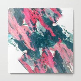 Sweet Tooth - a pretty abstract acrylic piece in pinks, blue, and green Metal Print