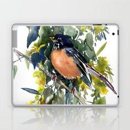 American Robin on Linden Tree, Deep blue Cottage Woodland style design Laptop & iPad Skin