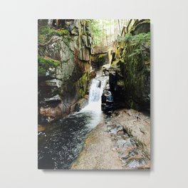 Waterfall Under a Bridge Metal Print