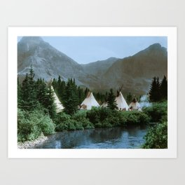 Blackfoot Camp Up the Cutbank in Montana Art Print