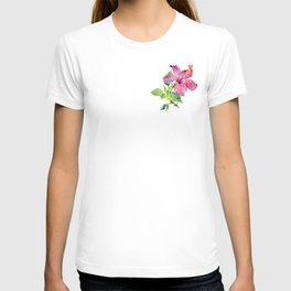 Tropical Pink Hibiscus Watercolor T-shirt