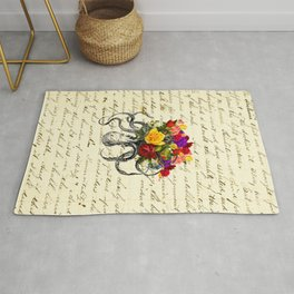 Octopus Attacking Flowers Rug