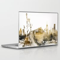 new york skyline Laptop & iPad Skins featuring New York City Skyline  by jbjart