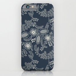 Straight Laced | Vintage Floral Lace Pattern | Navy & Cream iPhone Case