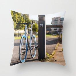 Bike on Harbor 3 Throw Pillow
