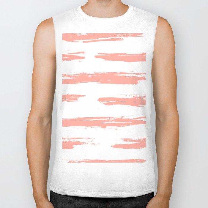 Pretty Pink Brush Stripes Horizontal Biker Tank