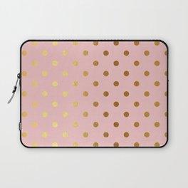 Gold polka dots on rose gold background - Luxury pink pattern Laptop Sleeve