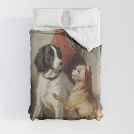 Two dogs by a kennel by Conradijn Cunaeus (1828–1895). Duvet Cover