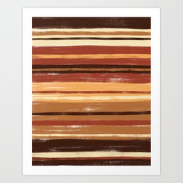 Brown and Cream  Pastel Stripes Retro Abstract Art Print