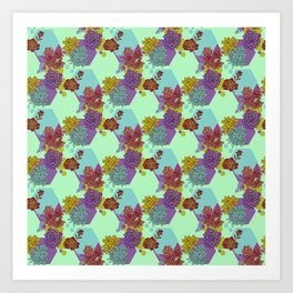 Succulents and Hexagon Pattern Art Print