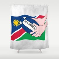 rugby Shower Curtains featuring Rugby Namibia by mailboxdisco