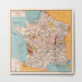 Gastronomy Map Of France 1932 Metal Print