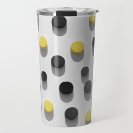 lastic bottle caps background with black and yellow pattern Travel Mug