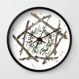nature mandala... beech sticks, hemlock needles, quail egg Wall Clock