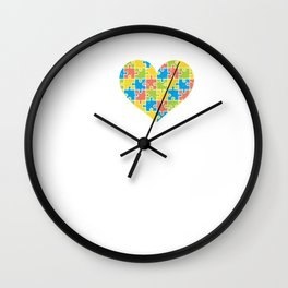 Cute Love Autism Puzzle Heart Awareness Wall Clock