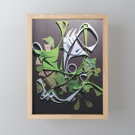 Amphibious- Abstract Texture Collage Framed Mini Art Print