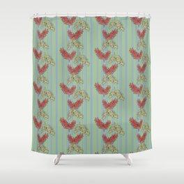 Australian Native Floral Striped Print Shower Curtain