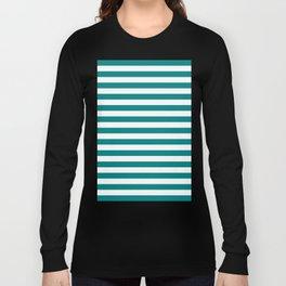 Horizontal Stripes (Teal/White) Long Sleeve T-shirt