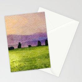 Sunrise at Castlerigg Stone Circle, Keswick, Lake District, Uk. Watercolour Painting Stationery Cards