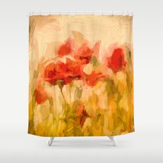 Fiery poppies in a golden cornfield Shower Curtain