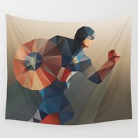 avenger Wall Tapestries featuring Captain by Ed Burczyk