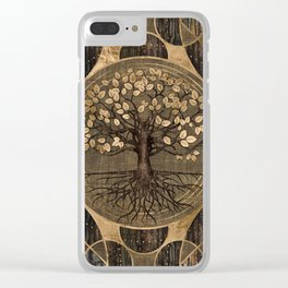 Tree of life - Yggdrasil - Wood and Gold Clear iPhone Case