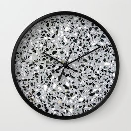 Concrete terrazzo marble texture speckle pattern gray Wall Clock