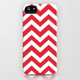 Rose madder - red color - Zigzag Chevron Pattern iPhone Case
