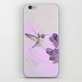 Hummingbird with purple flower watercolor iPhone Skin