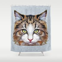 meow Shower Curtains featuring MEOW by Ancello