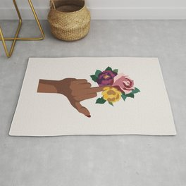 Middle finger with flowers Rug